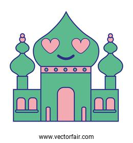 full color taj mahal in love kawaii cartoon