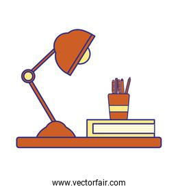 full color wood shelf with desk lamp and office utensils