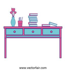 full color wood desk with drawers objects and books