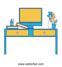 full color wood desk object with drawers and computer