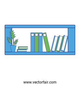 full color office shelf with plants and folders document