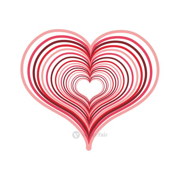 heart love with engraving design decoration
