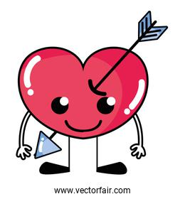 smile heart with arrow kawaii with arms and legs