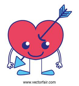 full color smile heart with arrow kawaii with arms and legs
