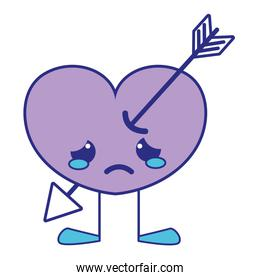 full color crying heart with arrow kawaii and legs