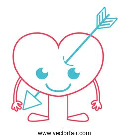 color line smile heart with arrow kawaii with arms and legs