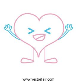 color line happy heart passion kawaii with arms and legs