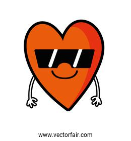 cute smile heart kawaii with arms and sunglasses