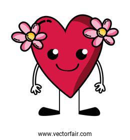 smile heart with flowers kawaii with arms and legs