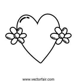 line cute love heart with flowers design