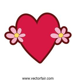 line color cute love heart with flowers design