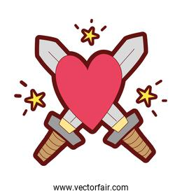 line color swors mediaval weapons with heart and stars