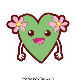 line color happy heart with flowers kawaii with arms