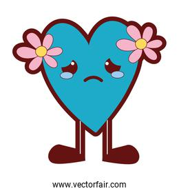 line color crying heart with flowers kawaii and legs