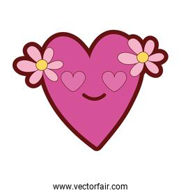line color heart with flowers in love kawaii cartoon