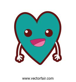 line color cute happy heart kawaii with arms