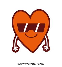 line color cute smile heart kawaii with arms and sunglasses