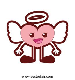 line color happy heart angel kawaii with arms and legs
