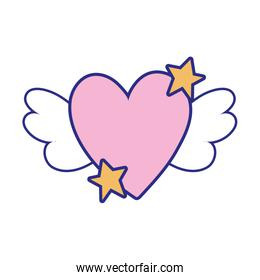full color love heart with wings and stars design