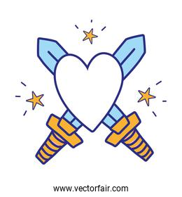 full color swors mediaval weapons with heart and stars