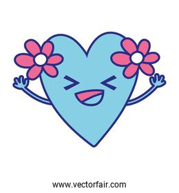 full color happy heart with flowers kawaii cartoon