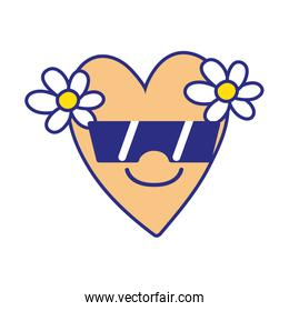 full color smile heart with flowers kawaii with sunglasses
