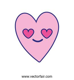 full color cute in love heart kawaii cartoon