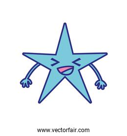 full color happy shiny star kawaii cartoon