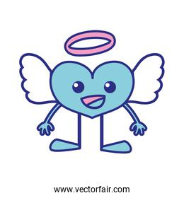full color happy heart angel kawaii with arms and legs