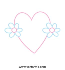 color line cute love heart with flowers design
