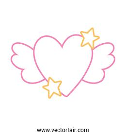 color line love heart with wings and stars design