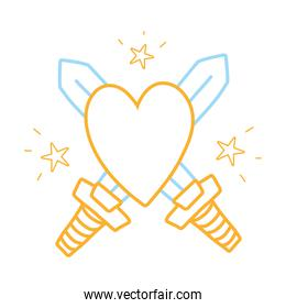 color line swors mediaval weapons with heart and stars