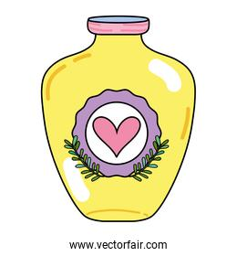 mason jar with heart sticker and branches style