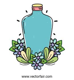 long mason jar with flowers and leaves