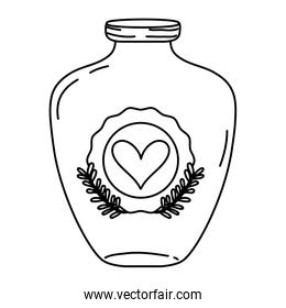line mason jar with heart sticker and branches style