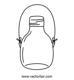 line middle mason jar with wire handle