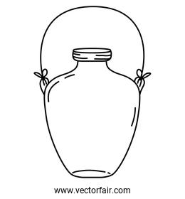 line middle mason jar with wire handle design