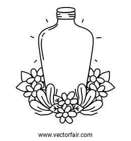 line long mason jar with flowers and leaves