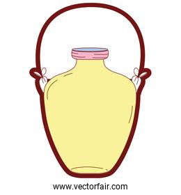 line color middle mason jar with wire handle design