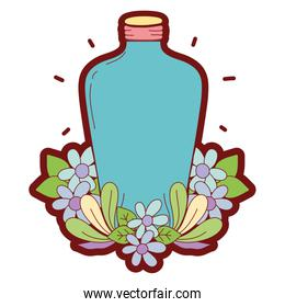 line color long mason jar with flowers and leaves