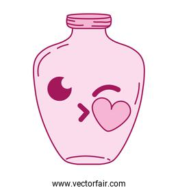 full color mason jar kiss kawaii cartoon