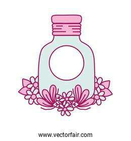 mason glass with sticker and flowers design