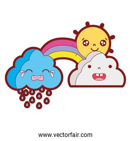 line color cute natural weather clouds with sun and rainbow kawaii