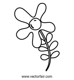 line beautiful flowers with petals and leaves design