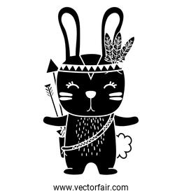 silhouette cute rabbit animal with feathers and arrows