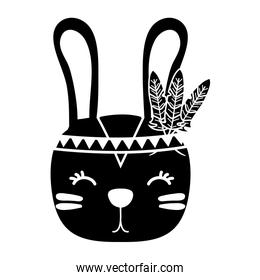 silhouette cute rabbit head animal with feathers