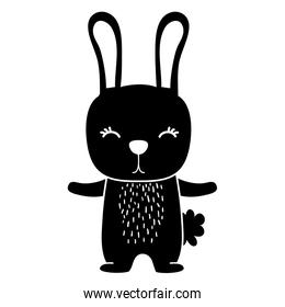 silhouette cute rabbit wild animal of the forest