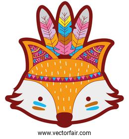 line color cute fox head animal with feathers