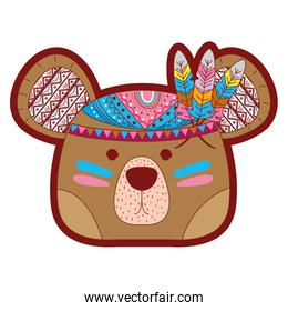 line color cute bear head animal with feathers