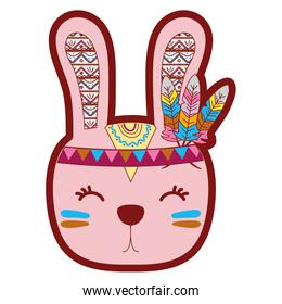 line color cute rabbit head animal with feathers